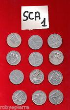 lotto 10 lire 12 monete 1951 1952 1953 1955 1956 1973 74 77 1979 1980 1981 1982