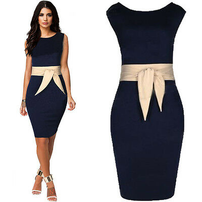 New Celeb Ladies Slim Bodycon Pencil Cocktail Evening Party Dress Size 6-20