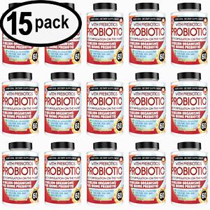 ULTRA PROBIOTIC 20 Billion CFU +100mg Prebiotic Fiber Digestive Aid 60ct 15 PACK