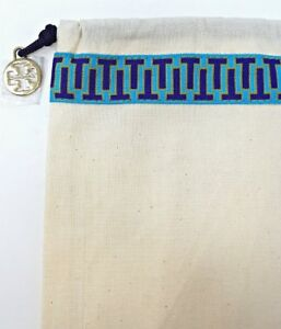 "TORY BURCH dust bag drawstring travel storage charm  12/""x15/"" new"