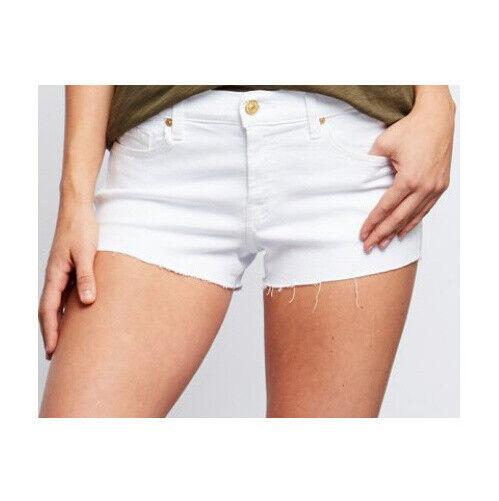 7 FOR ALL MANKIND New Womens 31 White Denim SHORTS Cutoffs Stretch