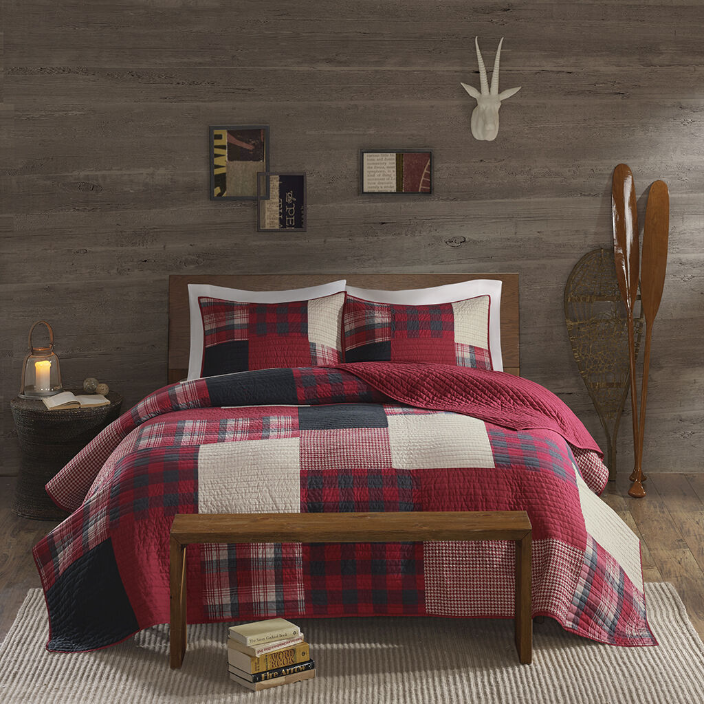 Sunset King Cal King Quilt Set Red Buffalo Check Plaid Lodge Cabin Coverlet