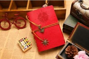 Vintage Red leather Journal Notebook Voyage travel diary retro pocket bound