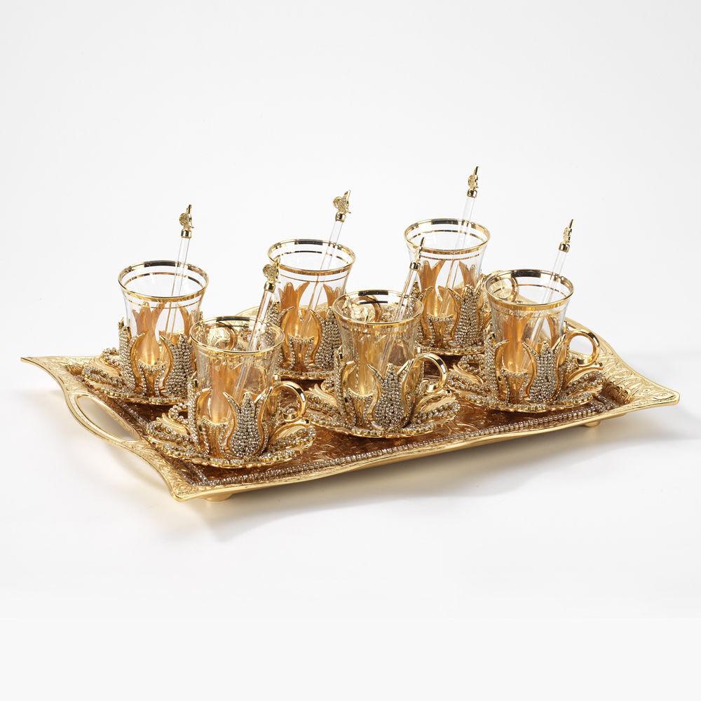 Hecho a mano de cobre turco Té Café Servicio Conjunto Swarovski recubierto de Color oro