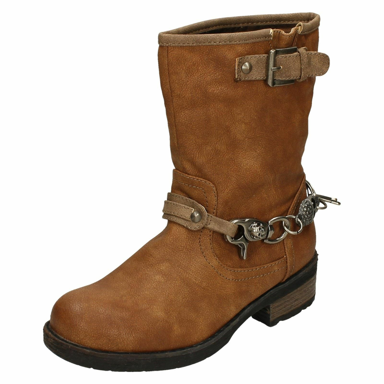Spot On Ladies Chain Detail Ankle Boots