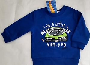 Hot Wheels Baby Boy 000 Blue Fleecy Lined Sweatshirt I/'m A Little Hot Rod Car