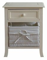 Shabby Chic Bedside Cabinet French Vintage Style Cream White Wood Storage Table