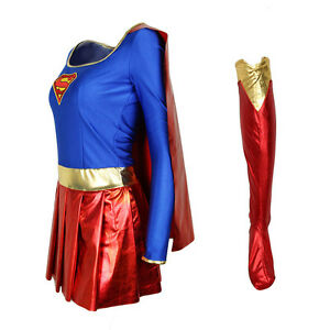 Image is loading Womens -Halloween-Superwoman-Supergirl-Super-Hero-Fancy-Dress- 0bfee9242
