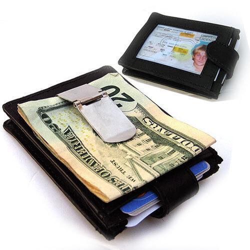 Black Men/'s Genuine Leather Money Clip 12 Cards Wallet Front Pocket