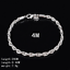 925 Silver Plated 3//4MM Twisted Rope Weaved Bangle Chain Bracelet Cuff Wristband