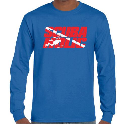 Scubaholic homme drôle plongée T-shirt Plongée Diver Sea équipement Gear Flipper