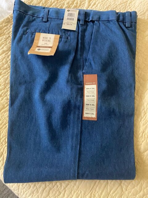 Haggar Men/'s Work-To-Weekend Hidden Expandable-Waist Plain-Front Denim Pant