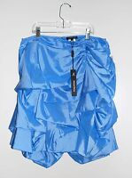 Samuel Dong Women's Blue Perforated Flouncy Bubble Skirt 19684 Sz Large
