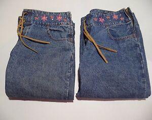 Lot-of-2-Jordache-Girls-8-5-Denim-Jeans-Capri-Pants-Faux-Leather-Lace-Up-8-1-2