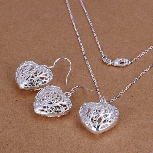 Fashion Jewelry 925 Sterling Argent Coeur Creux Femmes Collier Boucles d/'oreilles Set S108