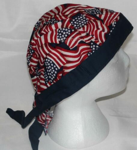 skull cap hat do du doo rag  American USA flag sweat band  USA made long tail