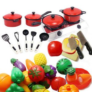 Children Kids Kitchen Utensils Pots Pans Play Toys Cooking Food Cookware Dishes