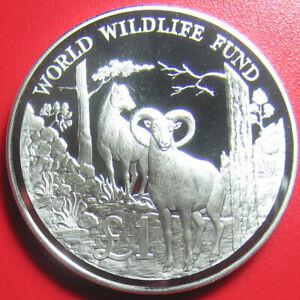 CYPRUS-1986-ONE-1-POUND-SILVER-PROOF-WILD-GOAT-SHEEP-MOUFLON-WWF-WILDLIFE-w-COA