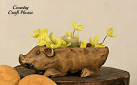 Primitive Farmhouse Chic Country Pig Bowl Dish Candle Tray Holder