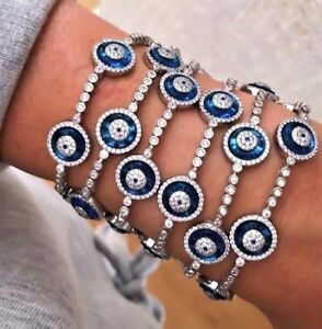 Evil-Eye-Tennis-CZ-Bracelet-Gemstone-White-Gold-Plated-Silver-Multiple-Stone