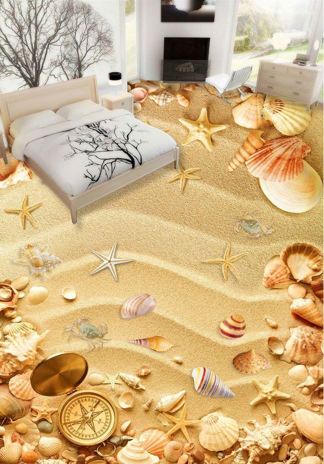 3D beach shell sand 319 Floor WallPaper Murals Wall Print Decal 5D AJ WALLPAPER
