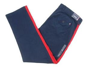 NEW Men/'s Tommy Hilfiger Chino Pants Red Side Stripe Custom Fit Navy Blue