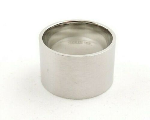 Stainless Steel Brushed 15 mm Comfort Fit Wide Band Ring Free Gift Packaging