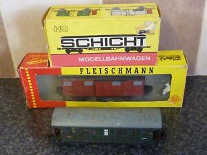 3x-GERMAN-HO-GUAGE-RAILWAY-ITEMS-SCHICHT-FLEISCHMANN-amp-MARKLIN-WAGONS-VAN-VG