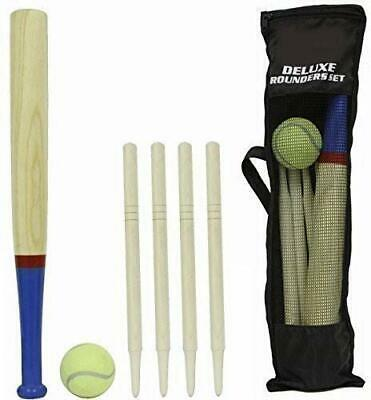 Outdoor Toys /& Games HL348 6 Piece Wooden Rounders Set /& Carry Bag