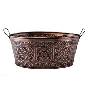 Antique-Copper-Ice-Bucket-2-9-Gallon-Oval-Party-Tub-Embossed-Beverage-Storage