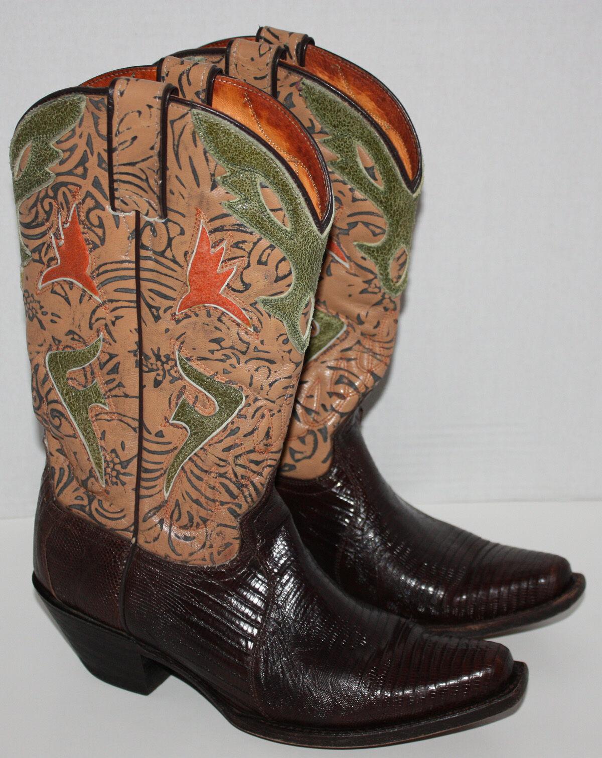 Womens FRYE Lily Genuine Lizard Cowboy Boots Size 7 B