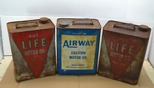 Lot-3-Vintage-Airways-Life-Motor-Oil-2-Gallon-Can-Service-Station-Car-Advertise
