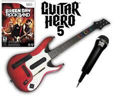 NEW Nintendo Wii Guitar Hero 5 Guitar, Green Day Rock Band & Microphone Bundle