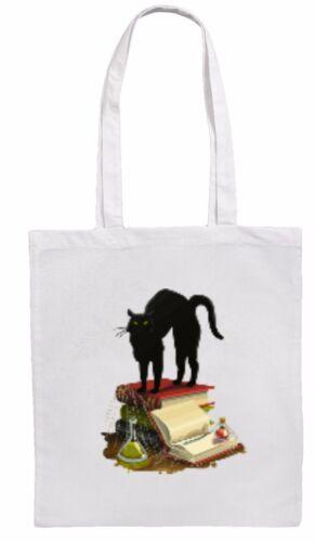 Sorcier//Sorcière Chat//Spell Books Shopping//Fourre-tout//Sac d/'épaule Blanc ou naturel *