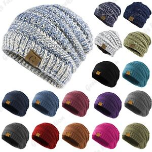 d84ea59a89e11 Men Womens Beanie Knit Hat Winter Warm Thermal Fleece Cuff Cap ...