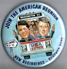 "1993 Bill Clinton 3.5/"" xmas /""42nd President/"" Inauguration Day Souvenir Button"
