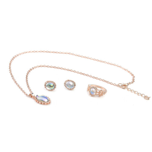 Noble Luxury Women Rose Gold Crystal Necklace Ring Earring Jewelry Gift Sets
