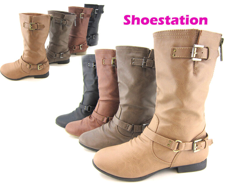NEW Womens Shoes Fashion Boot Mid Calf Riding Motorcycle Military Slouch Flat