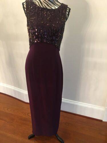 Sequined Evening Gown Holiday Party Dress~Plum/Dee