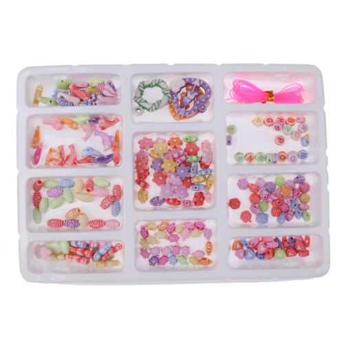 Kids DIY Handcraft Jewelry Making Toy Colorful Acrylic Beads Play Fun Toy