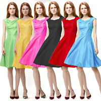 Retro Women 50s Rockabilly Swing Pinup Sleeveless Party Evening Prom Mini Dress