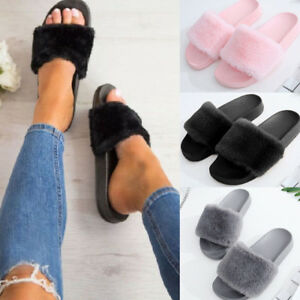 Women's Flat Fur Fluffy Plush Slip on Sliders Slippers Sandals Flip Flops Shoes