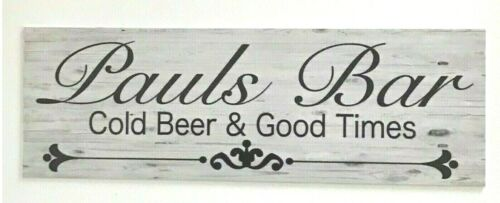 Bar Your Name Custom Personalised Sign Cold Beer Good Times Wall Plaque Hanging