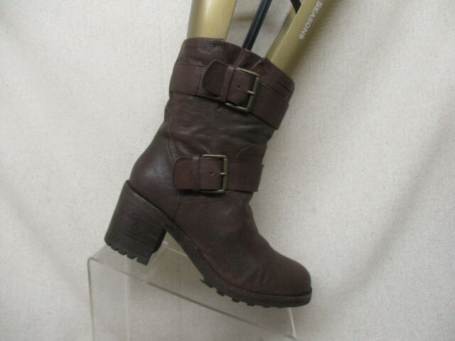 Sam Edelman Brown Leather Buckle High Ankle Fashion Boots Womens Size 9 M