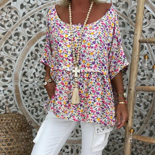 Damen Blumen Hemd Bluse Longbluse Tunika Langarm Oberteile T-Shirts Boho Sommer