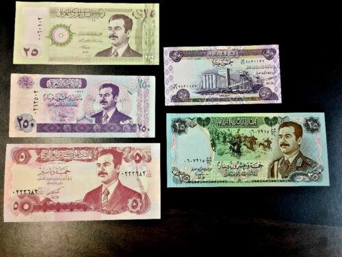 5 Nots .. UNC SADDAM HUSSEIN IRAQ IRAQI DINAR  BANKNOTE LOT