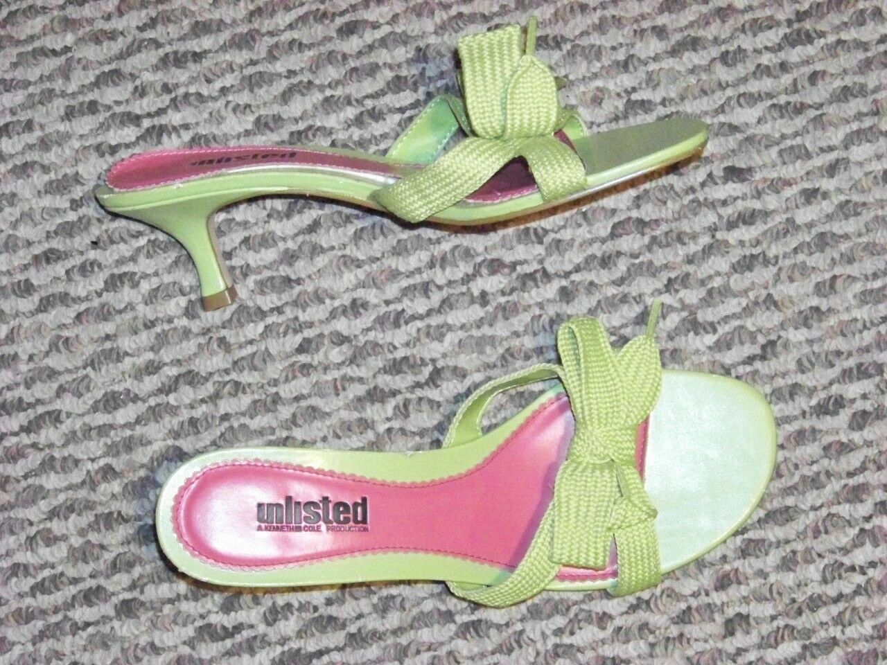 womens tone unlisted kenneth cole green tone womens shoe string bow slip on heels shoes sz 9 b35444
