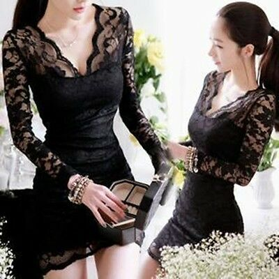 Women Sexy Black Long Sleeve  Evening Party Cocktail Lace Mini Dress