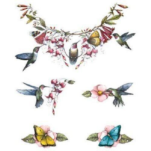 Hummingbird Floral HEAT PRESS TRANSFER for T Shirt Sweatshirt Fabric Tote #791d