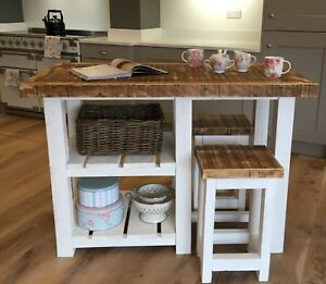 Details About New Rustic Farmhouse Kitchen Island Table And 2 X Stools Made To Measure